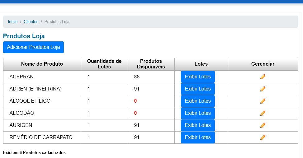 Produtos cadastrados loja software online